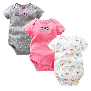 Times 'Favori 3PCS / Lot Garçons Filles Vêtements d'été Nouvelle mode 100% coton Body Body Sleeve Bébé nouveau-né 210309