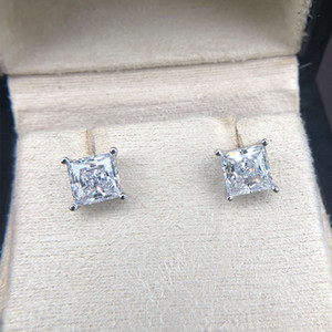 HBP luxury New Style * 7 fashion Jewelry four claw 925 pure silver Zircon small 3 carat Earrings