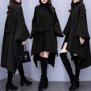 2020 new spring and autumn large Korean loose tweed medium length over knee Cape woollen coat women's clothing