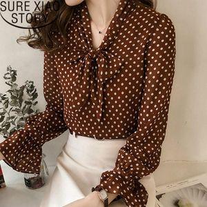 Women's Blouses & Shirts Womens Tops And Blouse 2021 Plus Size Chiffon Women Print Long Sleeve Polka Dot Female Blusas 1537 45