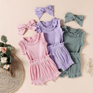 kids clothes girls outfits infant Headband+Solid color ruffle Tops+Pit stripe Shorts 3pcs sets 2021 Summer fashion baby Clothing Sets