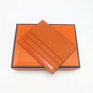 2021 New Fashion Alta Calidad Hombre Mujeres Cuero genuino Titular de la Tarjeta de Crédito Mini Billetera Tarjeta de Cuero Real Tarjetas con caja