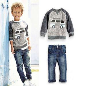 Jungen Kids Tales Frühling Kleidung Anzug Kinder Raglan Sleeve Top Jeans Zwei Stück Set