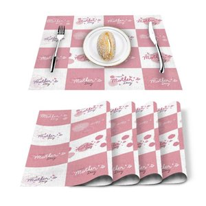 Table Runner 4 6pcs Mothers Day Flower Pink Checkered Kitchen Placemat Set Dining Mats Cotton Linen Pad Bowl Cup Mat Home Decor