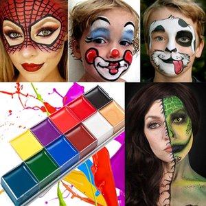 12 цветные мода тело окрашены на окрашенные кремы временные татуировки Хэллоуин макияж лица краска лестницы увлажнение лица роспись кремовый