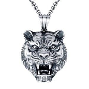 Moda europea y americana Retro Tigre cabeza colgante collar de moda Marca versátil Thai Silver Silver Men's Dominiering Colgante al colante