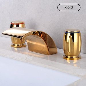 Basin Faucets Gold Polished Widespread Deck Mounted Waterfall Bathroom Sink Faucets 3 Hole Double Handle Hot And Cold Water Tap