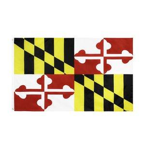 Maryland State Polyester Flagge 3x5 ft Maryland MD Flaggen Flaggen Banner 90 * 150 cm Polyester mit Messing Tüllen Haus Garten Wand Flagge Dekor