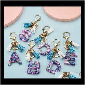 Beautiful And Fashionable 26 English Alphabet Keychain Transparent Acrylic Crystal Tassel Pendant Bag Pendant Pendant Christmas Gift Y Akhur