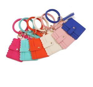 Bangle Bracelet Card Bag Wallet Keychain Wristlet Keyring Leopard handbag Leather Bracelet Keychain Credit Card holder with Tassel 39 style