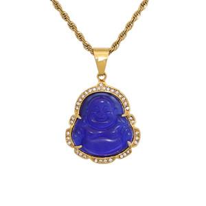 14K Gold Oced Out Out Buddha Подвесное ожерелье Bling Micro Pave Cubic Zirconia Имитации бриллиантов с 3 мм 24 дюйма тенниса