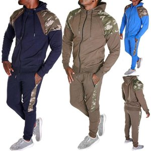 MJARTORIA Men Tracksuit Set Camo Patchwork Sweat Suit Set Mens Sports Suit Hoodie Sweatshirt Sweatpants 2 Pieces Jogger Outfit1
