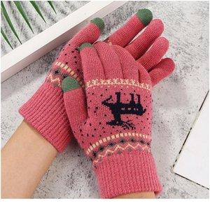 Donne ragazze inverno guanti touch screen guanti moda stile coreano cervi di stampa lana a maglia calda morbida finge finge finge