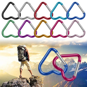 Carabiner Keyrings heart Shaped Keychain Outdoor Sports Camp Snap Clip Hook Hiking Aluminum Metal Convenient Hiking Camping Clip On WLL130