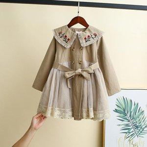 Coat Girls Long Spring Autumn Children's Windbreaker Korean Princess Gauze Baby's Pure Cotton3-12Y