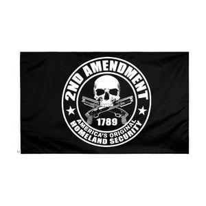 2. Änderungs-Flagge große 3x5 ft fuß Black Schädelgewehre Gun Flaggen- Flaggen Flagge Banner 90 * 150 cm Polyester mit Messing Tüllen Hausgarten Wand