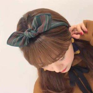 Hair Clips & Barrettes Korean Same Product Green Striped Wide Edge Cross B Bow Headb Accessories Ping B493