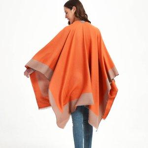designer Blankets women black orange blue pink travel air conditioning Blanket ladies cloak TR cotton solid color split shawl
