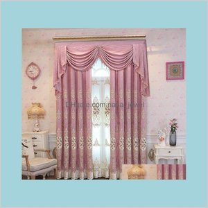 Fyfuyoufy Top European Light Velvet Embroidered Curtains For Villa Living Room Upscale Hotel Bedroom Window Decoration C4Wp0 Xccz9