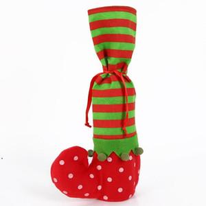 Chaise Santa Claus antidérapante Chaussettes de pied Table Jambes Couverture Ornement pour Noël Noël Navidad Nouvel An Fourniture de décoration DHD4760