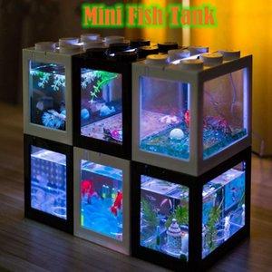 수족관 크리 에이 티브 여러 가지 빛깔의 쌓을 수있는 빌딩 블록 생태 미니 수족관 물고기 탱크 작은 파충류 애완 동물 상자 풍경