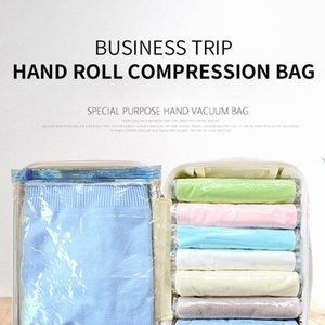 Viajar enrolar a compressão vácuo casa de bagagem de bagagem saco manual de compressão transparente bagagem de bagagem
