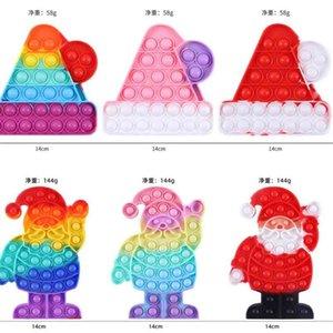 2021 Christmas Bell Hats Santa Children's Push Poppers Bubbles Kids Puzzle Decompression Toys Bubble Fidget Silicone Tie Dye Toy For Kids G109UF16