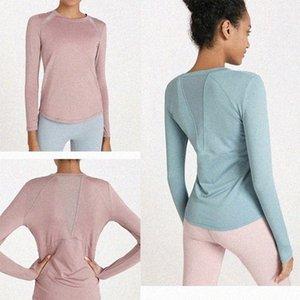 2021 LU Women Yoga sweatshirts Sports Gym Wear Breathable Stretch Tight sleeve shirts LU Women Athletic Joggers clothes new vfu D8Ej#
