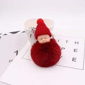 CUTE Sleeping Baby Doll Keychain Pompom Rabbit Fur Ball Carabiner Key Chain Keyring Women Kids Bag Pendant key Ring Gift