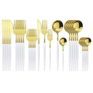 30 pcs conjunto de talheres de ouro branco 304 de aço inoxidável de aço inoxidável conjunto faca sobremesa fork colher colher jantar casa conjunto de utensílios de mesa