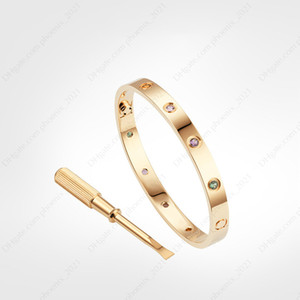 love screw bracelet Colored Diamonds designer gold bracelet luxury jewelry women Titanium steel Gold-Plated Never fade Not allergic -Rose