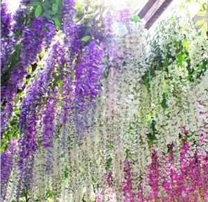 Fashion 110 cm Artificial Silk Wisteria Fake Garden Hanging Flower Plant Vine Home Wedding Party Event Decorative Flowers