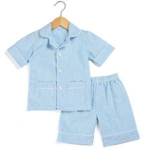 Cotton Stripe seersucker Summer Pajamas sets stripe boutique home sleepwear for kids 12m-12years button up pjs C1019