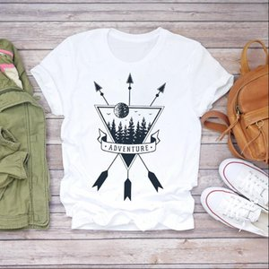 Women Short Sleeve Arrow Mountain Holiday Print Clothes Lady T shirts Top Womens T Shirt Ladies Graphic Female Tee T Shirt