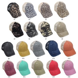 2021Ponytail Hat Washed Mesh Back Leopard Camo Hollow Criss Cross Ponytail Messy Bun Baseball Cap Trucker Hat=