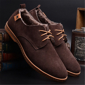 Merkmak Новые Кожаные Мужские Замшевые Обувь Мужская Зимняя Теплая Обувь Повседневная Обувь Мокасин Мужские Мокасины Формальная квартира F7os #