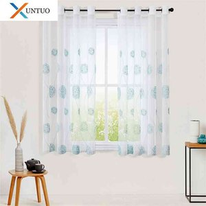 Sheer Curtain for Window Short Curtain Voile Tulle for Kitchen Bedroom Living Room Embroidered Drape Half-Window Home Decoration 210712