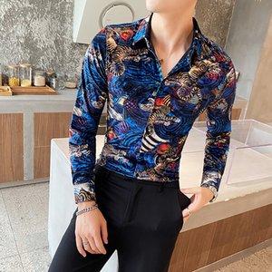 2021 тигр напечатанный зимой необычные партийные клубы одежда роскошные мужские рубашки из королевского голубого бархатного платья RHW
