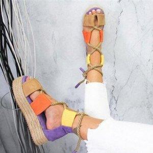 2019 Летние Женщины Плоские Сандалии Веревочка Кружева Женщина Пляжная Обувь Клина Обувь Высокий Каблук Удобные Сандалии на платформе 9.19 J7WN #
