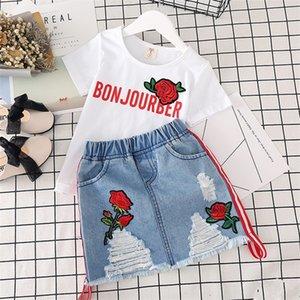 الفتيات ملابس بيضاء تي شيرت الدنيم تنورة 2 قطع الفتيات الدعاوى الصيف أزياء الاطفال الملابس إلكتروني مطبوعة زهرة الأطفال الملابس مجموعة 489 Y2