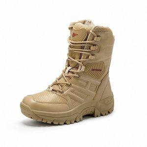 Bottes en cuir de vachette de Cinged Qualité femmes femmes mi-veau à lacets d'hiver bottes de neige d'hiver confortables bottes de combat confortables bottes de combat extérieures non glissées de pluie Botas mens ch d8xe #