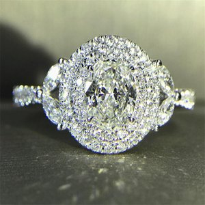 Cluster Rings 100% Original 925 Sterling Silver Diamond Cz Ring Flower Engagement Wedding Band For Women Bridal Party Finger Jewelry
