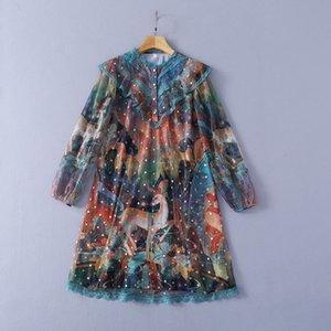 220 2021 Runway Dress Brand Same Style Dress Long Sleeve Crew Neck Dress Womens Clothes Luxury Fashion SH