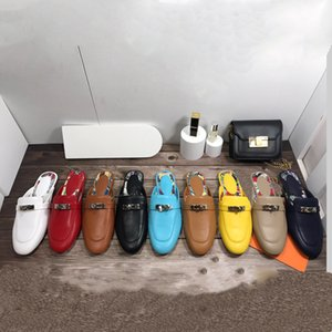 Desinger H Classic Kelly Rose Gold Flat Muller Half Slippers Shoes New Leather Baotou Slipper Wear Mullers Casual Women's Fashion Shoe Size34-42