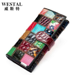 Women's in hand long color stitched zero purse women's zipper mobile phone bag leather wallet