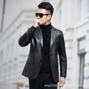 Haining Men's Sheepskin Light Leather Suit Coat Slim New Style in Spring and Autumn