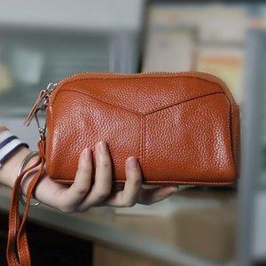 Wallets Women Clutch Bag Genuine Leather Female Elegant Hand Strap Evening Handbag Mobile Phone Lady Purse