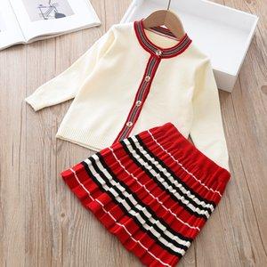 Прибытие девушки мода вязаные 2 штуки наборы свитер пальто юбка детские девочки бутиковые наряды девочка девушка зимняя одежда 493 y2