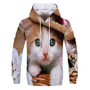 Men's Hoodies & Sweatshirts 2021 Anime 3D Printing Cute Animal Cat Hooded Sweater Men And Women Casual Wear Hip-hop Jacket