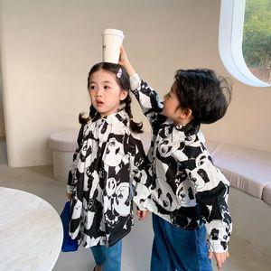 MILANCEL Spring New Kids Shirts Long Sleeve Print Panda Cute Shirts 210305